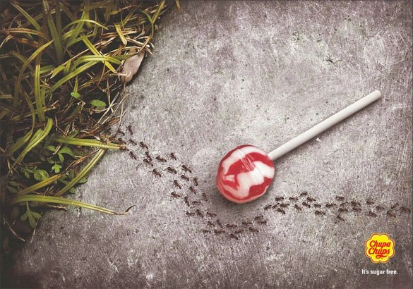 chupa chups sugar free ants Os 10 anúncios impressos mais inteligentes   Outdoor em BH, Contagem, Betim   Contagem Outdoor